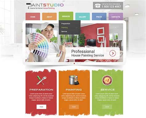 Painting Templates By Popular Gridgum House Painter Website Template