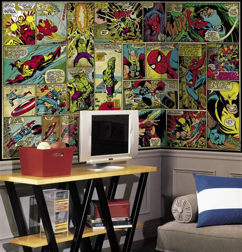 comic wall mural marvel classics comic panel xl wallpaper mural 10 5 x 6 wall sticker shop