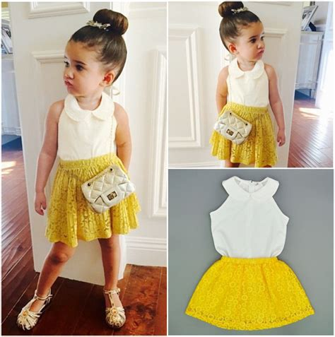 Girlset Kp Yellow Style 2pcs clothing sets children toddler baby lace