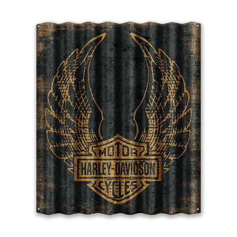 harley davidson wing logo corrugated sign  wood signs