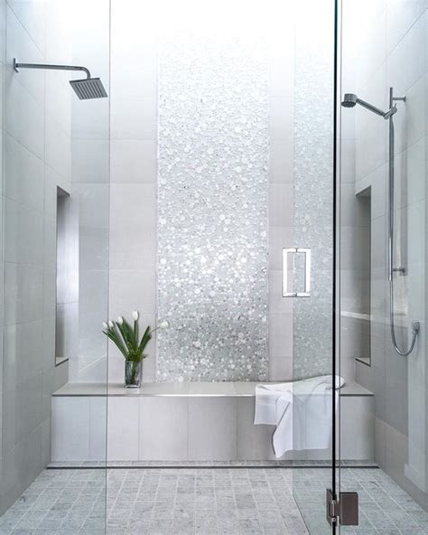 41 cool and eye catchy bathroom shower tile ideas digsdigs picture of sparkling silver shower tiles