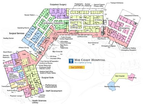 hospital floor plan mid coast hospital find us floor plans level 1