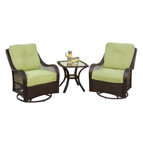 Shop hanover outdoor furniture orleans 3 piece wicker patio conversation set with green cushions