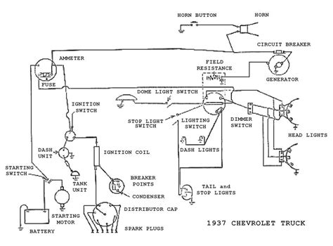 complete electrical wiring diagram for 1937 chevrolet