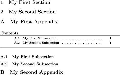 latex appendix section appendices table of contents within appendix tex