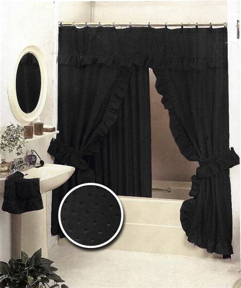 black double swag shower curtain black bathroom ruffle fabric shower curtain set valance ebay