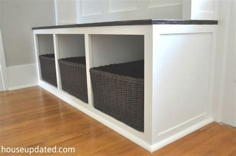 build entry bench how to build an entry bench with cubbies and baskets for storage and organization