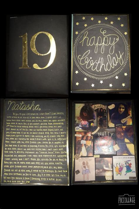 19th birthday card. The outer cover of the book is black