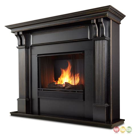 indoor ventless gel fireplace in white with cast