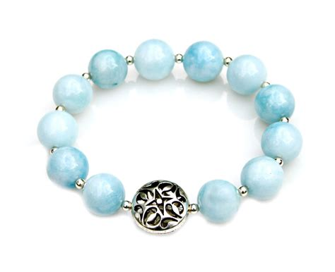blue beaded bracelet blue larimar bracelet larimar jewelry beaded bracelet blue