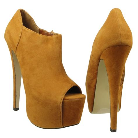 womens ankle boots suede peep toe high heel platform