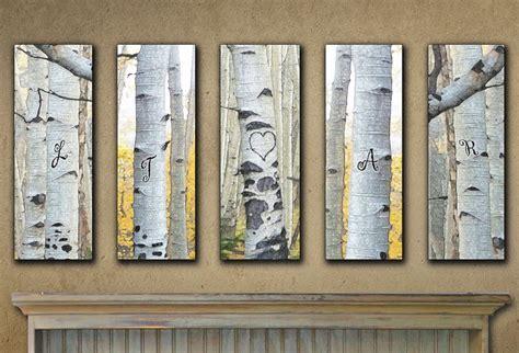 Large Personalized Aspen Wall Art (Set of 5)