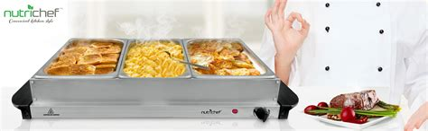 amazon com nutrichef 3 tray buffet server hot plate