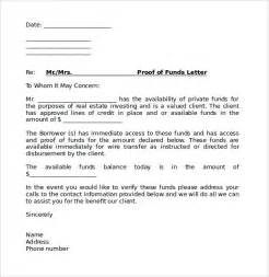 Proof Funds Letter Template Proof Of Funds Letter 7 Free Documents In Pdf Word Sle Templates