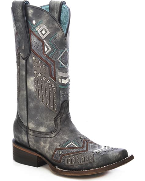 tribal pattern boots corral women s tribal pattern studded cowgirl boots