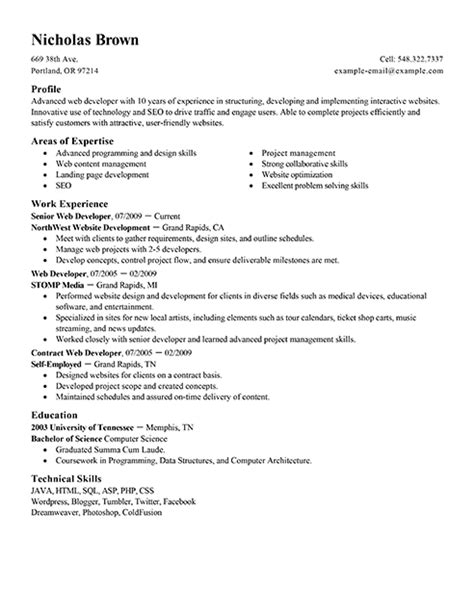 interesting web developer resume template sle featuring areas of expertise and work