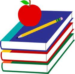 School books with apple and pencil free clip art