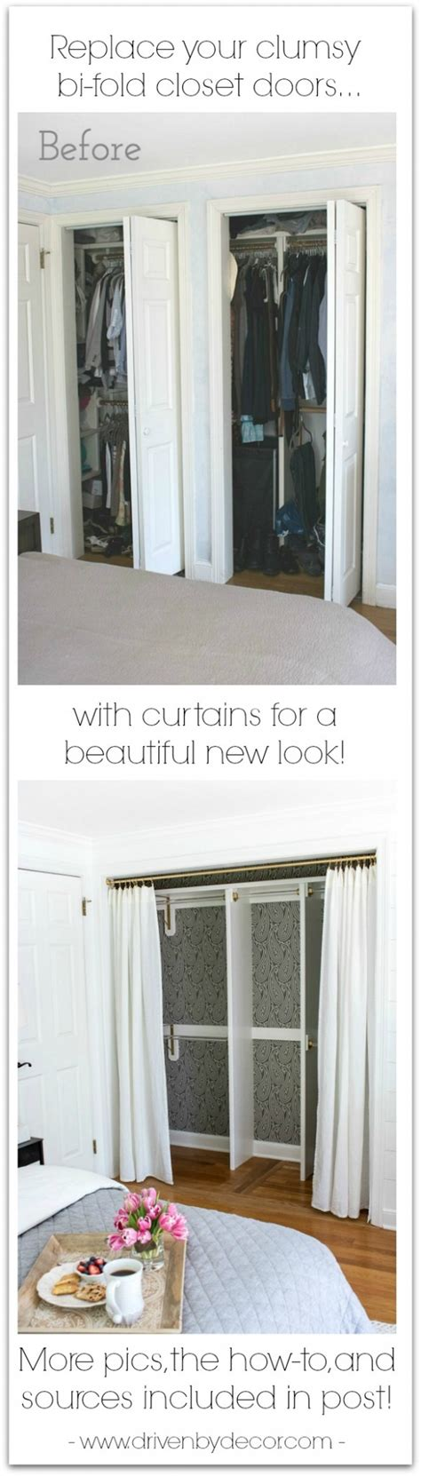 Replace Closet Doors With Curtains Replacing Bi Fold Closet Doors With Curtains Our Closet Makeover Driven By Decor