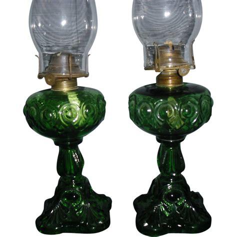 antique kerosene l identification pair emerald green bullseye kerosene oil ls from
