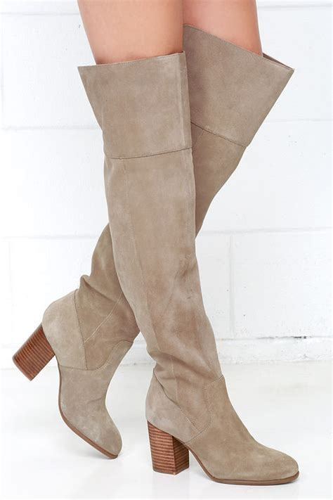 taupe the knee suede boots taupe boots the knee boots high heel boots