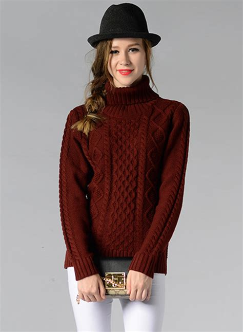 Sweater O Neck 24 high neck sleeve cable knit sweater oasap