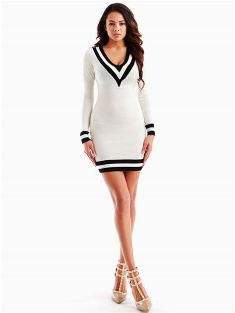 Lq 02 Ress Sweater Yiyo White hera collection white v neckline sweater dress modishonline