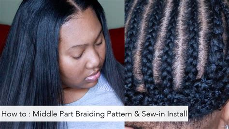 pictureof sewin braids how to braiding pattern for a middle part and install