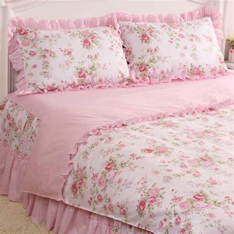 Pink Floral Comforter Sets by 4 Pcs Pink Floral Check Princess Bedding Duvet