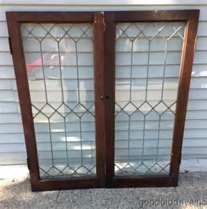 Vintage Transom Windows Inspiration 2 Leaded Glass Bookcase Doors Windows Transom Window Antique Chicago Door Ebay