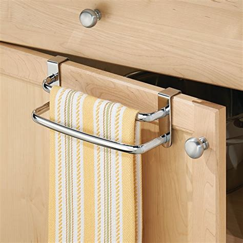 kitchen towel racks for cabinets interdesign axis over the cabinet kitchen dish towel bar