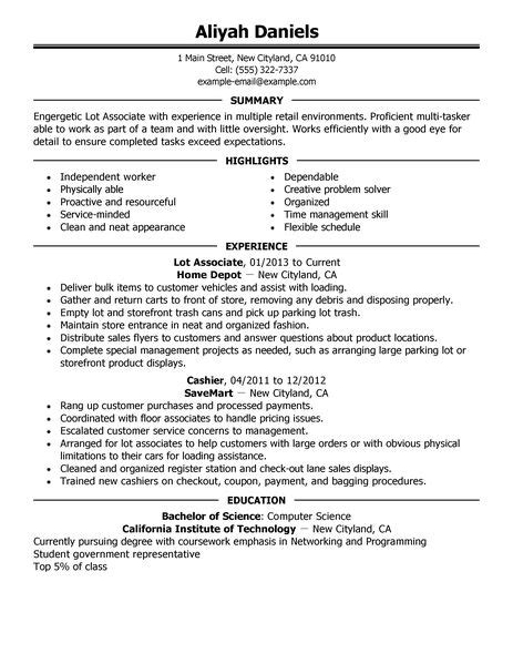 Lowes Resume Sample by Best Part Time Lot Associates Resume Example Livecareer