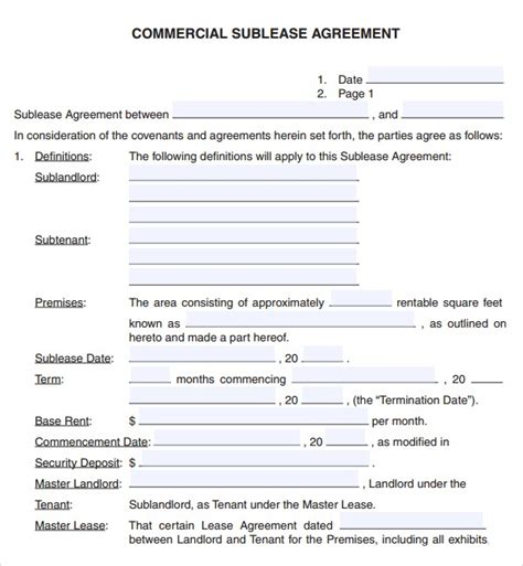 commercial sublet lease agreement template 6 free commercial lease agreement templates excel pdf