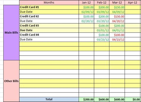 bill payment spreadsheet excel templates best photos of bill payment tracker template