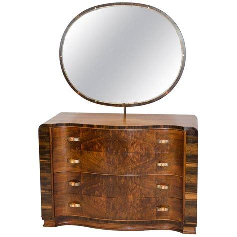 Deco Dresser With Mirror walnut deco dresser or chest with mirror at 1stdibs
