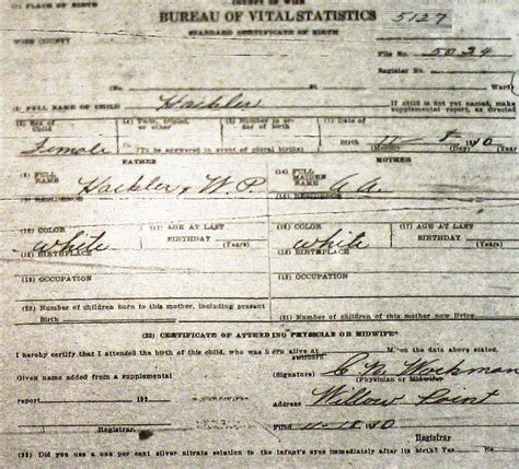 King County Records Birth Certificate Wise County Birth Certificates 1900 1930 S Last Names H Q