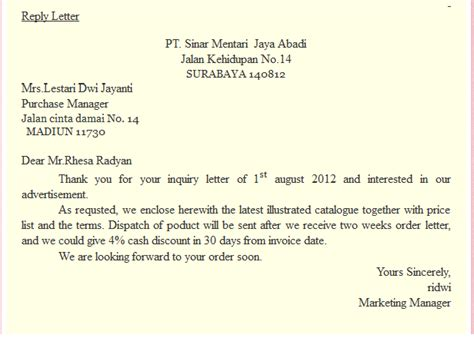Purchase Order Reply Letter Febrian Sle Of Replies Business Letter