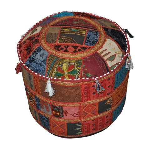 Small Decorative Ottomans Ethnic Indian Decorative Ottoman Stool Embroidery
