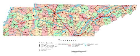 tennessee on the map of usa large detailed administrative map of tennessee state with