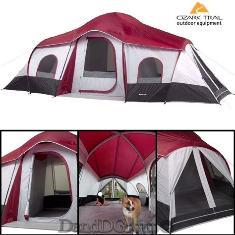 ozark trail 10 person 3 room instant cabin tent ozark trail 10 person 3 room instant cabin cing tent large outdoor hiking new ebay