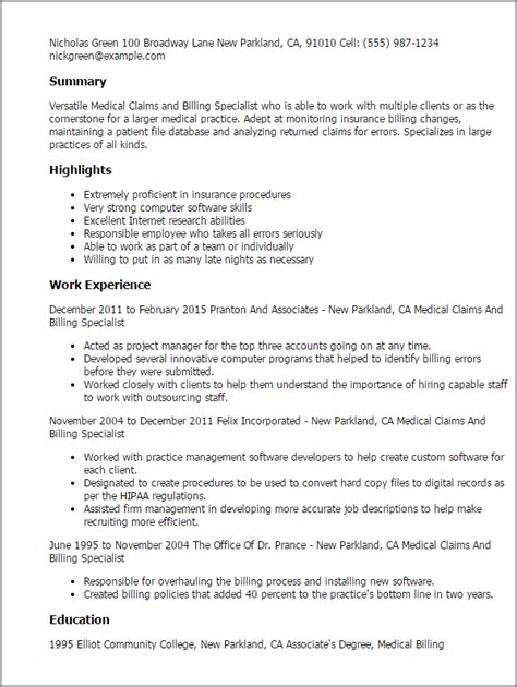 resume templates for billing professional claims and billing specialist templates to showcase your talent
