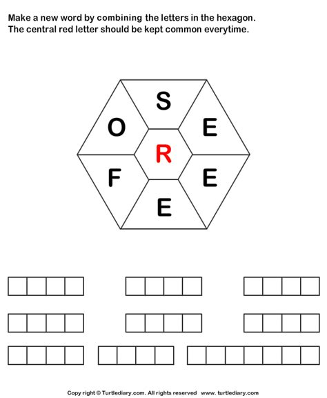 5 Letter Words Made From make words using letters s e e e f o r worksheet turtle