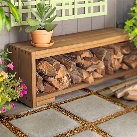 log storage bench outdoor space paver patio with fire pit