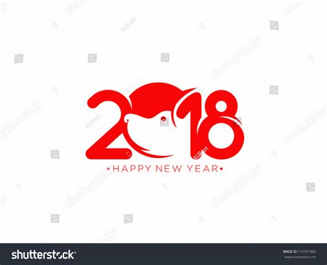 happy new year icon happy new year icon 2018 dogs stock vector 710701960