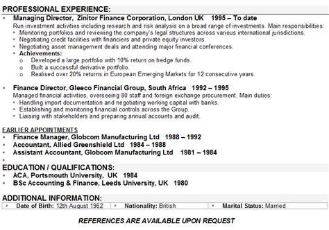 Finance CV Sample