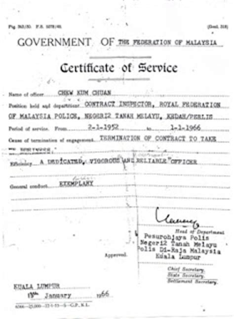 Letter Certificate Of Appointment Malaysia National Inspector Chew Chuan