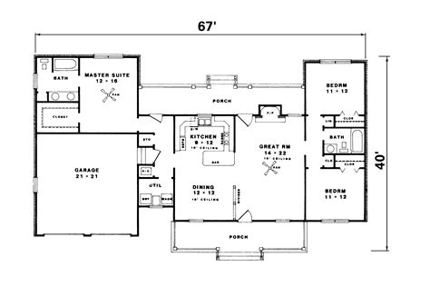 ranch home country house plans on 1500 sq ft floor 15