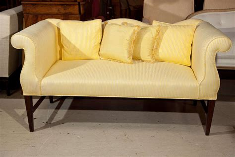camel back sofa with rolled arms vintage settee with camel back and rolled arms at 1stdibs