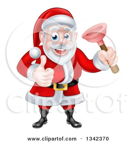 Santa Plumbing by Clipart Of A Happy Santa Claus Plumber Holding A Plunger And Giving A Thumb Up 4