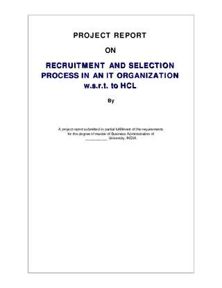 Smu Mba Marksheet by Project Report On Recruitment And Selection Process In An