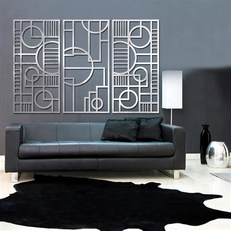 art deco wall deco panel trio 23 x 46 in brushed aluminum